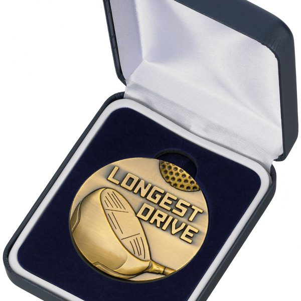 GOLF LONGEST DRIVE MEDAL & BOX